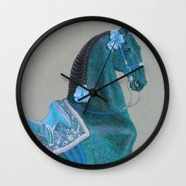 Blue Baroque Horse Wall Clock