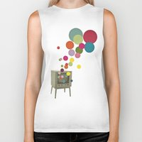 tv Biker Tanks featuring Colour Television by Cassia Beck