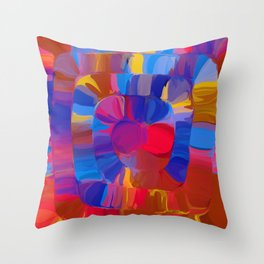 a spyral of happy colors Throw Pillow