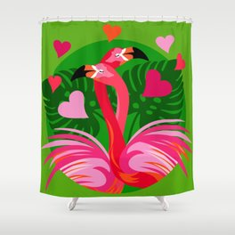 Flamingo Hug Shower Curtain