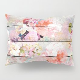 Summer pastel pink purple floral watercolor rustic striped wood pattern Pillow Sham