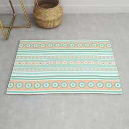 Striped mint green and orange background with dots Rug