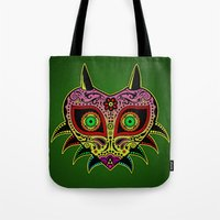 majoras mask Tote Bags featuring Sugarskull / Majoras mask /color by tshirtsz