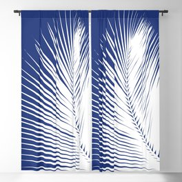 Palm Leaf Silhouette, Navy Blue and White Blackout Curtain