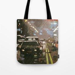 Rainy night between traffic Tote Bag