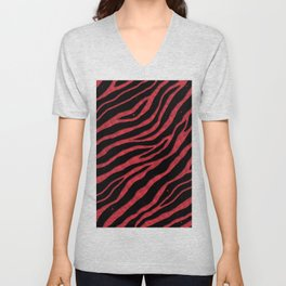Ripped SpaceTime Stripes - Coral Unisex V-Neck