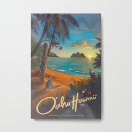 Retro Hawaii North Shore Travel Poster Metal Print