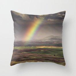 Rainbow over the Palouse Throw Pillow