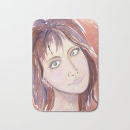 Portrait of a girl with green eyes and brown hair Bath Mat