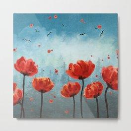 Poppy flowers - Misty Forest Metal Print