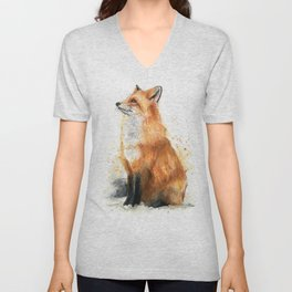 Fox Watercolor Red Fox Painting Unisex V-Neck