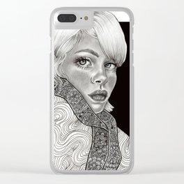 White haired girl - black and white Clear iPhone Case