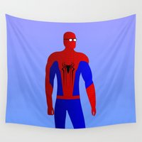 spider man Wall Tapestries featuring Spider Man by pablosiano