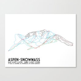 Aspen, CO - Snowmass - Minimalist Trail Map Canvas Print