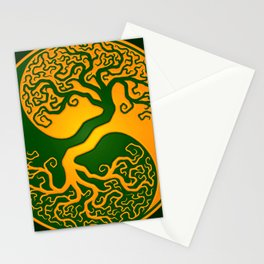 Green and Yellow Tree of Life Yin Yang Stationery Cards