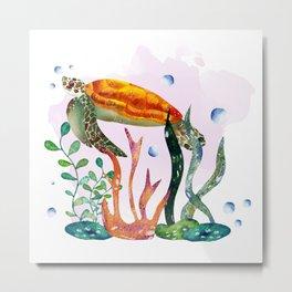 Watercolor turtle, under the sea Metal Print