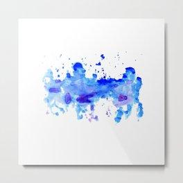 Blue Watercolor Blot Metal Print