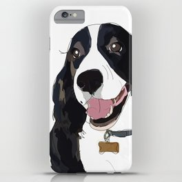 English Springer spaniel dog b/w iPhone Case