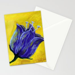Purple tulip on yellow, acrylic painting Stationery Cards