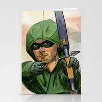 green arrow Stationery Cards featuring Arrow by Nicole Cuvin