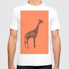 Designer Giraffe Coral White Mens Fitted Tee MEDIUM