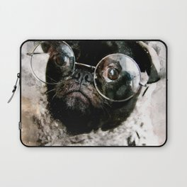 French Bulldog with glasses Laptop Sleeve