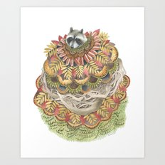 Quilted Forest: The Raccoon Art Print