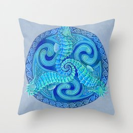 Seahorse Triskele Celtic Blue Spirals Mandala Throw Pillow