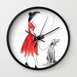 WEIMARANER IN PARIS Wall Clock