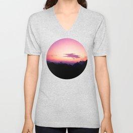 Fuchsia & Purple Sunset Mountains Unisex V-Neck