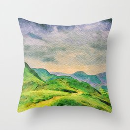 Moody Mountains in the Lake District, England. watercolor painting Throw Pillow