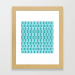 Aqua doodle criss cross vector seamless background pattern with rectangles Framed Art Print