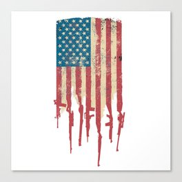 Distressed USA American Flag Made of Guns and Rifles Canvas Print