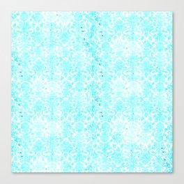 Aqua Blue Damask Canvas Print