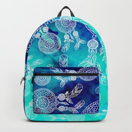 Modern boho white hand drawn dreamcatchers feathers pattern on blue turquoise watercolor Backpack