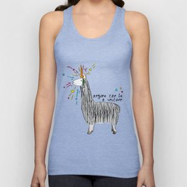 Anyone can be a unicorn...all you need is some creativity. Or a carrot if you're actually a llama. Unisex Tank Top