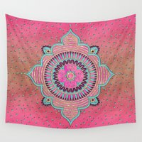 india Wall Tapestries featuring India Pink by LebensART