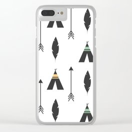 cute feathers, arrows and teepee ethnic tribal seamless pattern illustration Clear iPhone Case