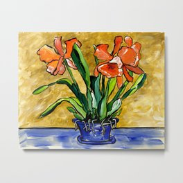 The Orange Colored Orchid Metal Print