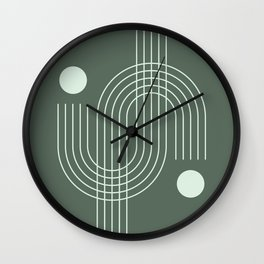 Geometric Lines in Sage Color Wall Clock