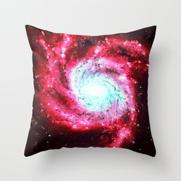 Spiral Galaxy Red Aqua Throw Pillow
