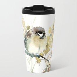 Sparrow and Dry Plants Travel Mug