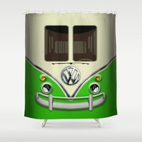 vans Shower Curtains featuring Special Gift for Summer Holiday green minivan minibus iPhone 4 4s 5 5c 6, pillow case and mugs by Three Second