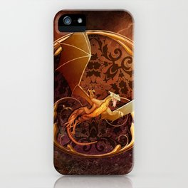 Gold Dragon Emblem on Faux Leather iPhone Case