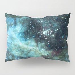 Teal Green Galaxy : Celestial Fireworks Pillow Sham