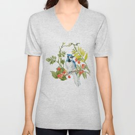 Bluejay Bird Day Floral Unisex V-Neck