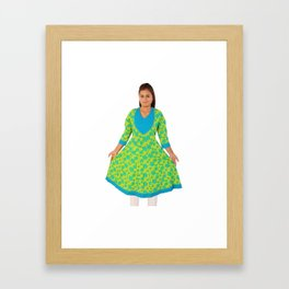 Flower Printed Colorful Kurtis for Women's & Girls Framed Art Print