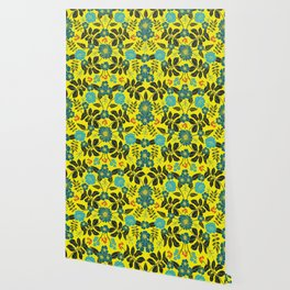 Bright Yellow, Red, Turquoise & Navy Blue Floral Pattern Wallpaper