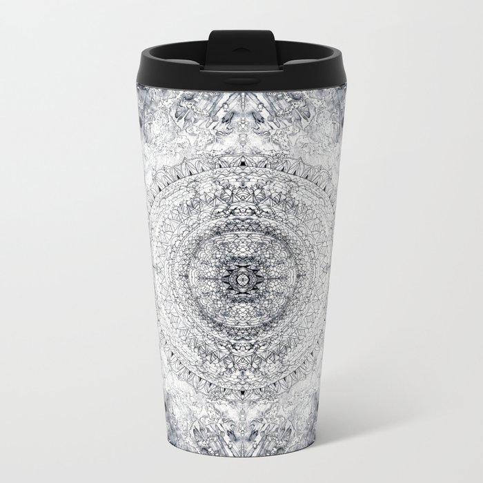 Black&white Mandala - & Grey Blue Metal Travel Mug