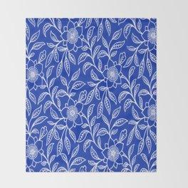 Vintage Lace Floral Sapphire Blue Throw Blanket